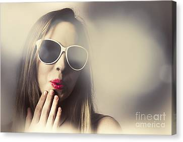 Surprised Pinup Girl In Retro Fashion Makeup Canvas Print by Jorgo Photography - Wall Art Gallery