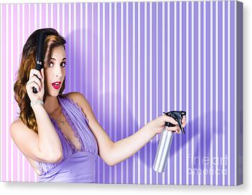 Surprised Pinup Woman With Beauty Salon Hair Style Canvas Print
