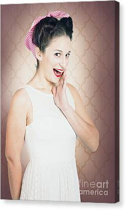Surprised Woman With Brunette Hair And Red Lips Canvas Print by Jorgo Photography - Wall Art Gallery
