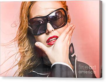 Surprised Young Woman Wearing Fashion Sunglasses Canvas Print by Jorgo Photography - Wall Art Gallery