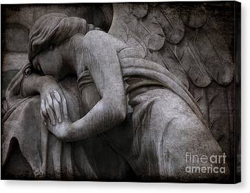 Angel In Mourning At Grave - Surreal Beautiful Angel Weeping Cemetery Art Canvas Print by Kathy Fornal