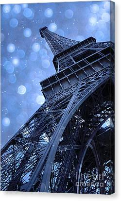 Surreal Blue Eiffel Tower Architecture - Eiffel Tower Sapphire Blue Bokeh Starry Sky Canvas Print by Kathy Fornal