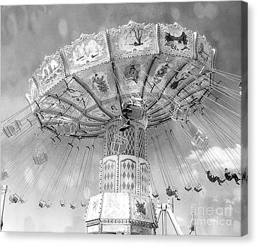 Canvas Print featuring the photograph Surreal Carnival Rides - Carnival Rides Ferris Wheel Black And White Photography Prints Home Decor by Kathy Fornal