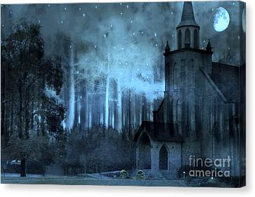 Surreal Church In Woods Blue Moon Starry Full Moon Night  Canvas Print by Kathy Fornal