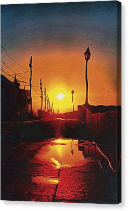 Surreal Cityscape Sunset Canvas Print