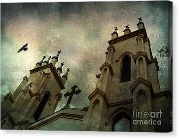 Surreal Ethereal Gothic Church With Cross - Haunting Church Architecture Canvas Print by Kathy Fornal