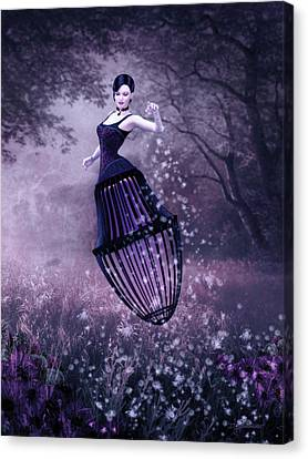 Flower Pink Fairy Child Canvas Print - Surreal Fairy And Her Magic Seed  by Britta Glodde