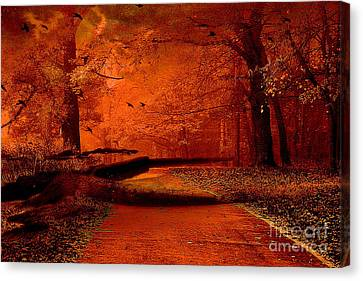 Surreal Fantasy Autumn Fall Orange Woods Nature Forest  Canvas Print