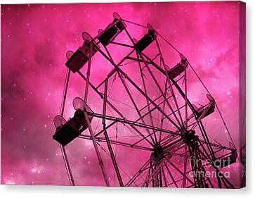 Surreal Fantasy Dark Pink Ferris Wheel Carnival Ride Starry Night - Pink Ferris Wheel Home Decor Canvas Print by Kathy Fornal