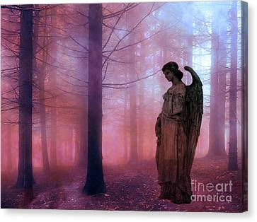 Surreal Fantasy Fairytale Angel In Foggy Woodlands - Ethereal Angel Art Canvas Print by Kathy Fornal
