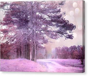 Surreal Fantasy Fairytale Purple Lavender Nature Landscape - Fantasy Lavender Bokeh Nature Trees Canvas Print