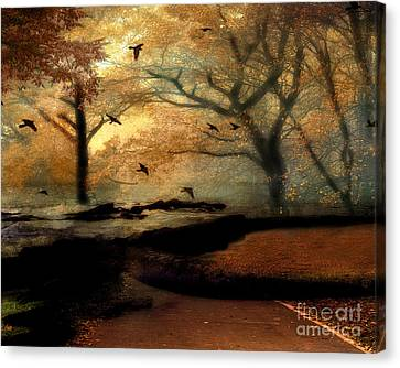 Surreal Fantasy Haunting Autumn Trees Ravens Canvas Print