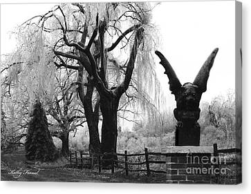 Surreal Gothic Gargoyle Black And White Tree Infrared Landscape  Canvas Print by Kathy Fornal