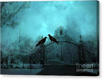 Surreal Gothic Ravens Fantasy Art Gate Scene Canvas Print by Kathy Fornal