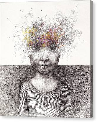 Surreal Hand Drawing Of A Boy From Stardust Decorative Artwork  - Cebanenco Stanislav Canvas Print by Matusciac Alexandru