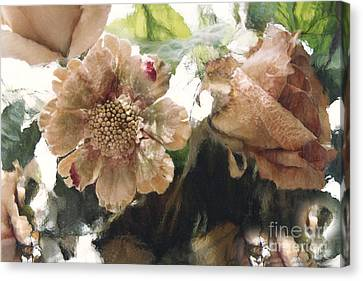 Surreal Impressionistic Green Peach Floral Prints - Romantic Watercolor Peach Green Floral Decor Canvas Print