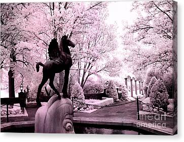 Surreal Infared Pink Black Sculpture Horse Pegasus Winged Horse Architectural Garden Canvas Print by Kathy Fornal