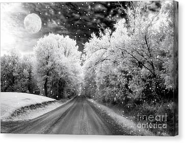 Surreal Infrared Black And White Fairytale Full Moon Nature Country Road - Ethereal Infrared Nature Canvas Print by Kathy Fornal