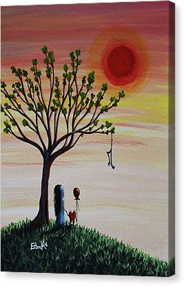 Surreal Landscape Art With Tree Of Life Canvas Print by Shawna Erback