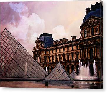 Surreal Louvre Museum Pyramid Watercolor Paintings - Paris Louvre Museum Art Canvas Print by Kathy Fornal