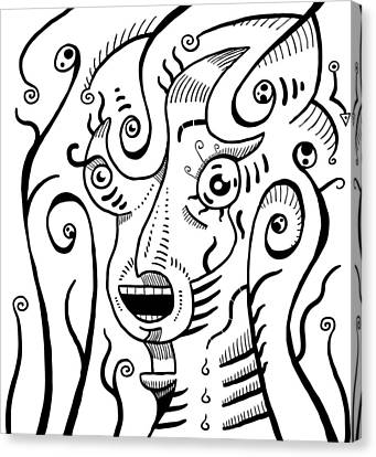 Surrealism Scream Black And White Canvas Print
