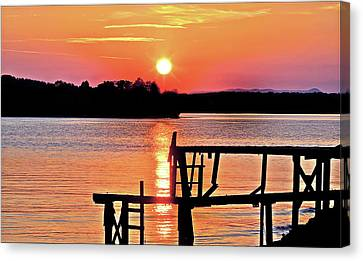 Surreal Smith Mountain Lake Dock Sunset Canvas Print by The American Shutterbug Society
