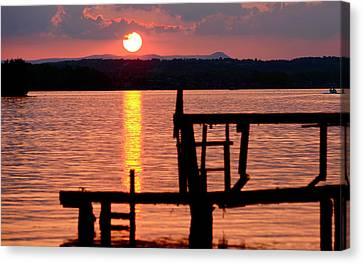 Surreal Smith Mountain Lake Dockside Sunset 2 Canvas Print by The American Shutterbug Society