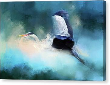 Surreal Stork In A Storm Canvas Print