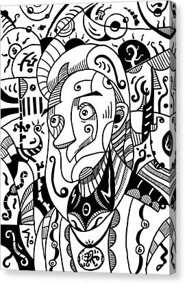 Surrealism Philosopher Black And White Canvas Print