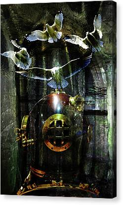 Diving Helmet Canvas Print - Surrealist Composition 6 by Lisa Yount