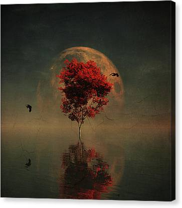 Surrealistic Landscape With Red Mapple And Full Moon Canvas Print