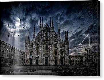 Surreality Art Milan Cathedral No 2 Canvas Print by Melanie Viola
