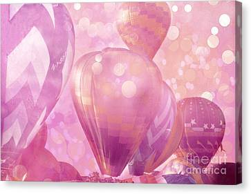 Balloon Festival Canvas Print - Surureal Hot Air Balloons Lavender Pink White Decor - Carnival Hot Air Balloons Nursery Room Decor by Kathy Fornal