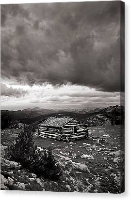 Old Cabins Canvas Print - Survival by Leland D Howard