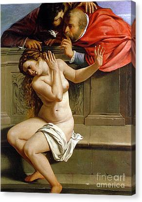 Frightening Canvas Print - Susannah And The Elders by Artemisia Gentileschi