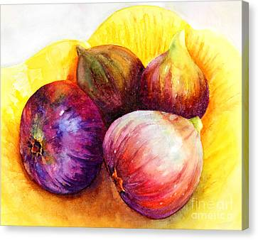 Canvas Print featuring the painting Susan's Figs by Bonnie Rinier