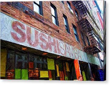 Times Square Canvas Print - Sushi Samba Sketch by Randy Aveille