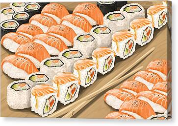 Canvas Print featuring the painting Sushi by Veronica Minozzi