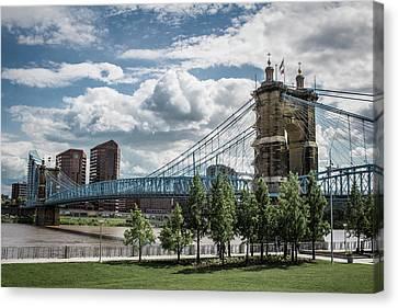 Suspension Bridge Color Canvas Print by Scott Meyer