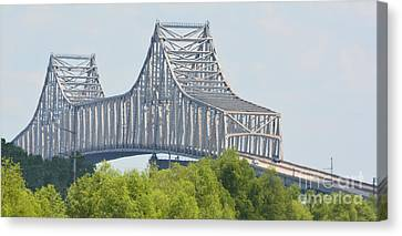 Suspension Bridge In Louisiana Photo B Canvas Print by Barbara Dalton