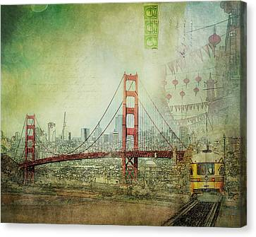 Canvas Print featuring the photograph Suspension - Golden Gate Bridge San Francisco Photography Mixed Media Collage by Melanie Alexandra Price