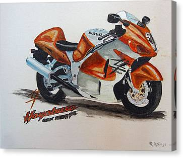 Canvas Print featuring the painting Suzuki Hayabusa by Richard Le Page