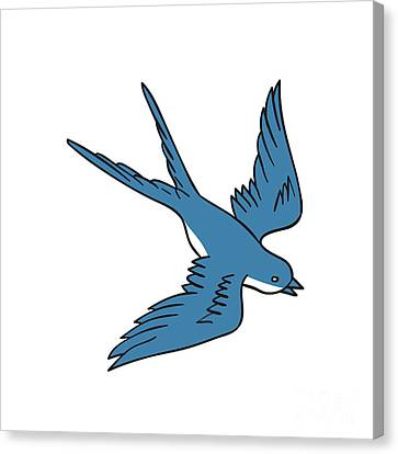 Swallow Flying Down Drawing Canvas Print