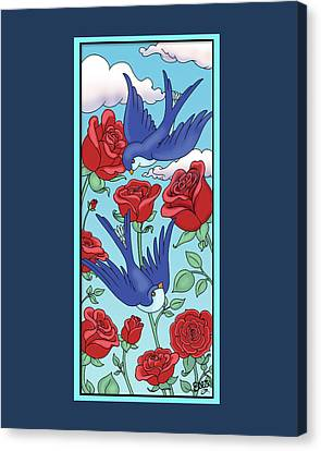 Swallows And Roses Canvas Print by Eleanor Hofer