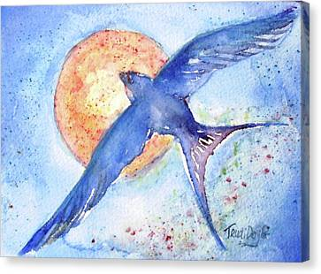 Canvas Print featuring the painting Swallows Return  by Trudi Doyle