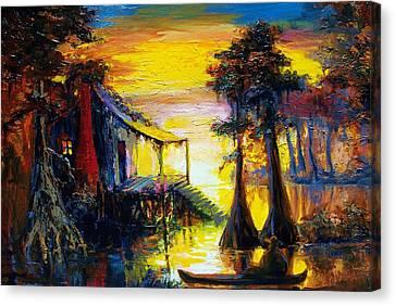 Swamp Sunset Canvas Print by Saundra Bolen Samuel