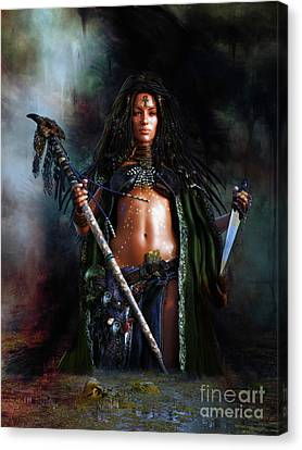 Canvas Print featuring the digital art Swamp Witch by Shanina Conway
