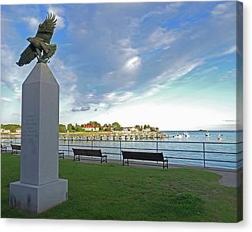 Swampscott Yacht Club Swampscott Ma Pier Eagle Statue Canvas Print by Toby McGuire