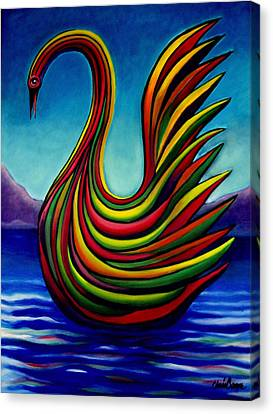 Canvas Print featuring the painting Swan #2 by Chris Boone