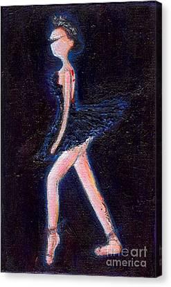 Swan Black Canvas Print